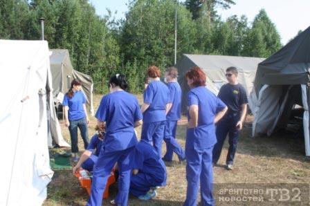 В Самуськах развернули мобильный госпиталь для пожарных