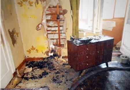 В одной из квартир внезапно загорелся телевизор