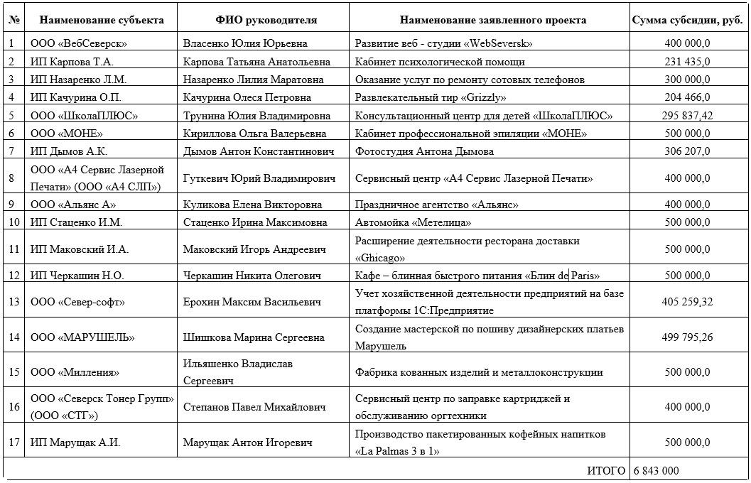 В Северске подведены итоги конкурса стартующих предпринимательских проектов