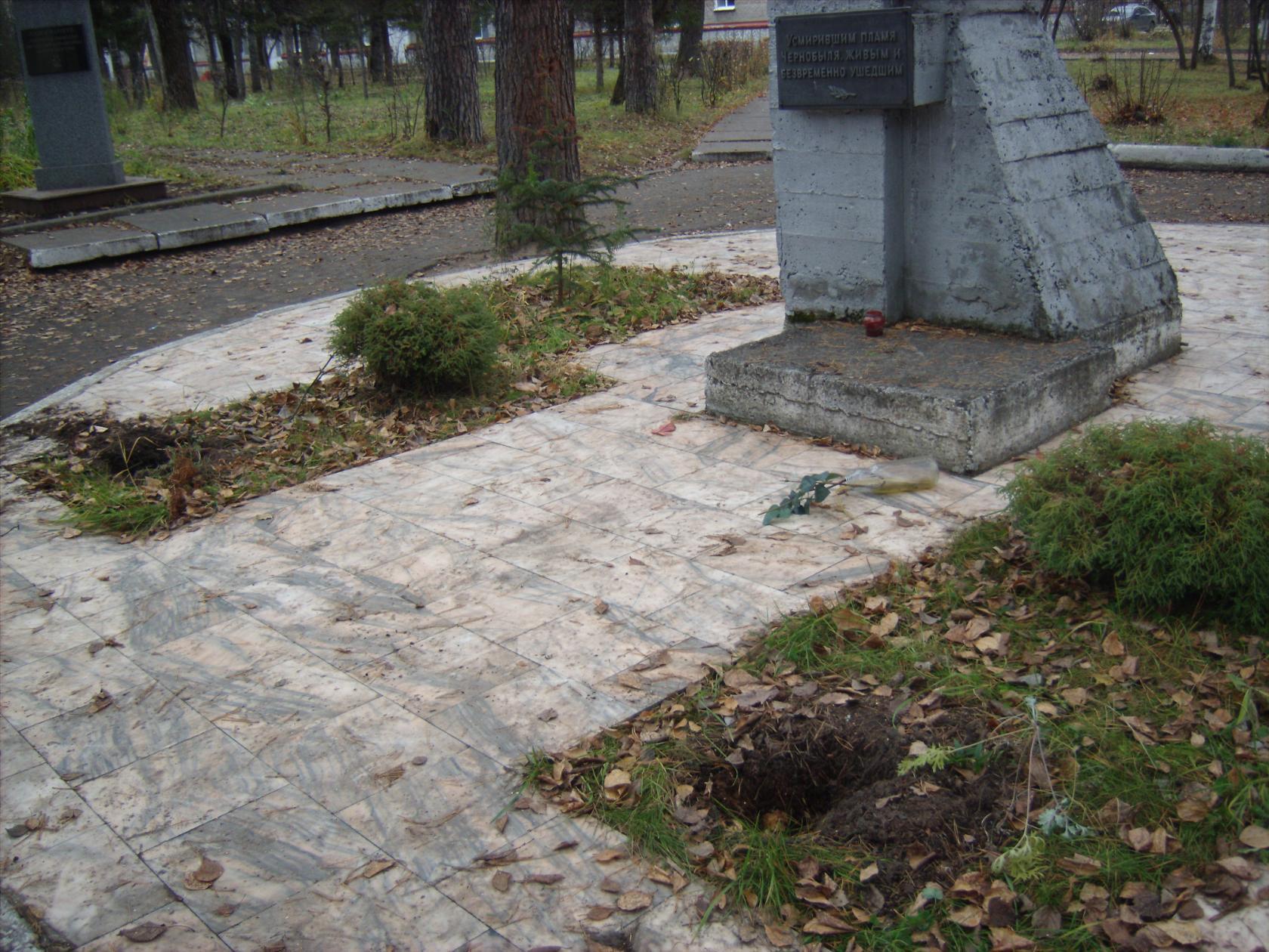 Возле памятника ликвидаторам Чернобыльской аварии выкопали кусты