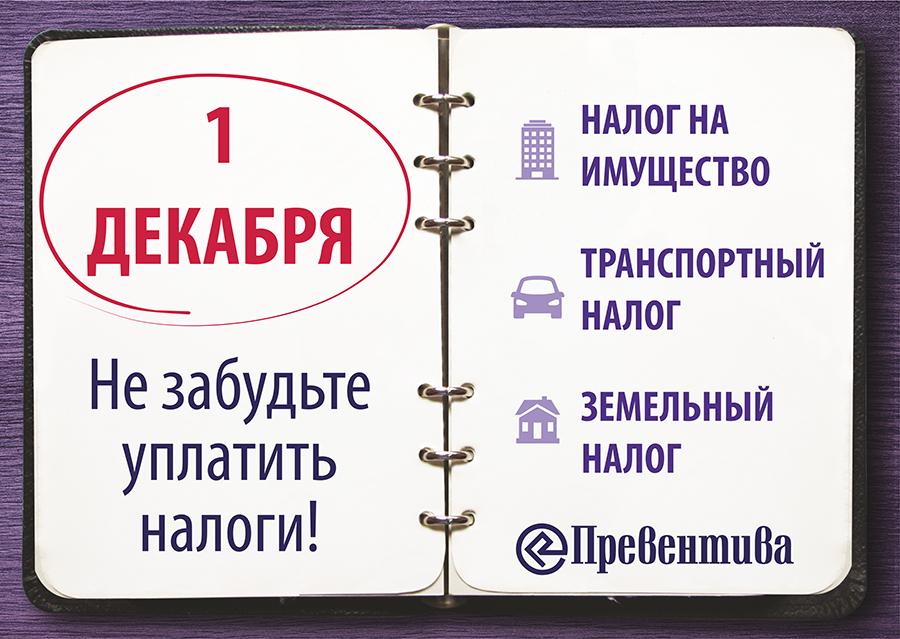 «Превентива» напоминает: 1 декабря – срок уплаты имущественных налогов физических лиц!