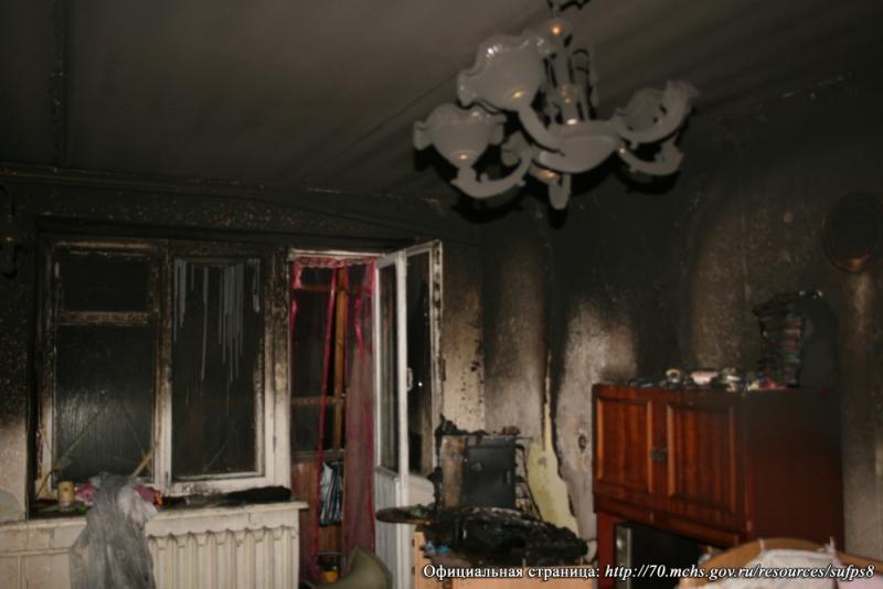 В пятиэтажном доме произошел пожар