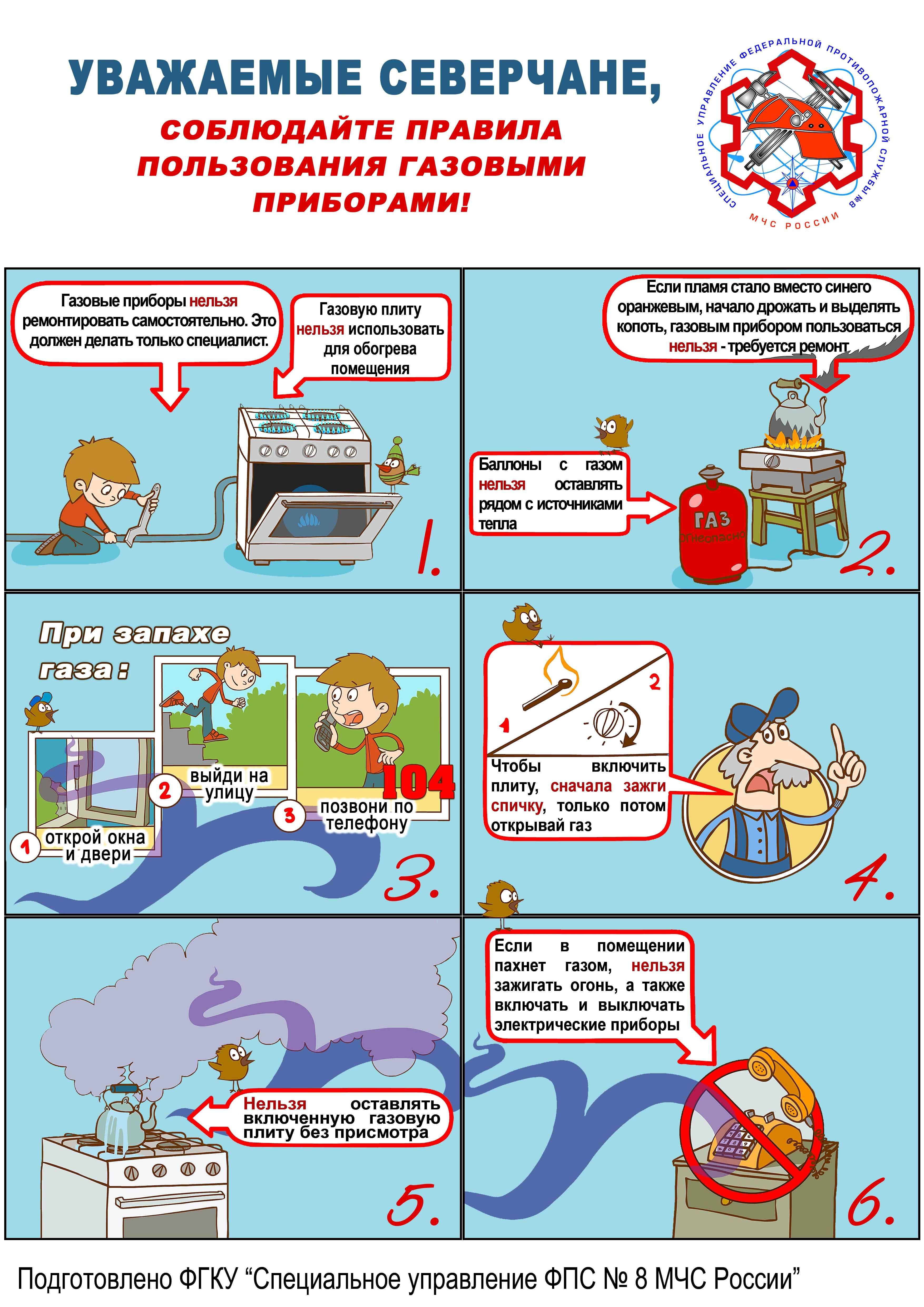 Правила безопасности использования бытового газа