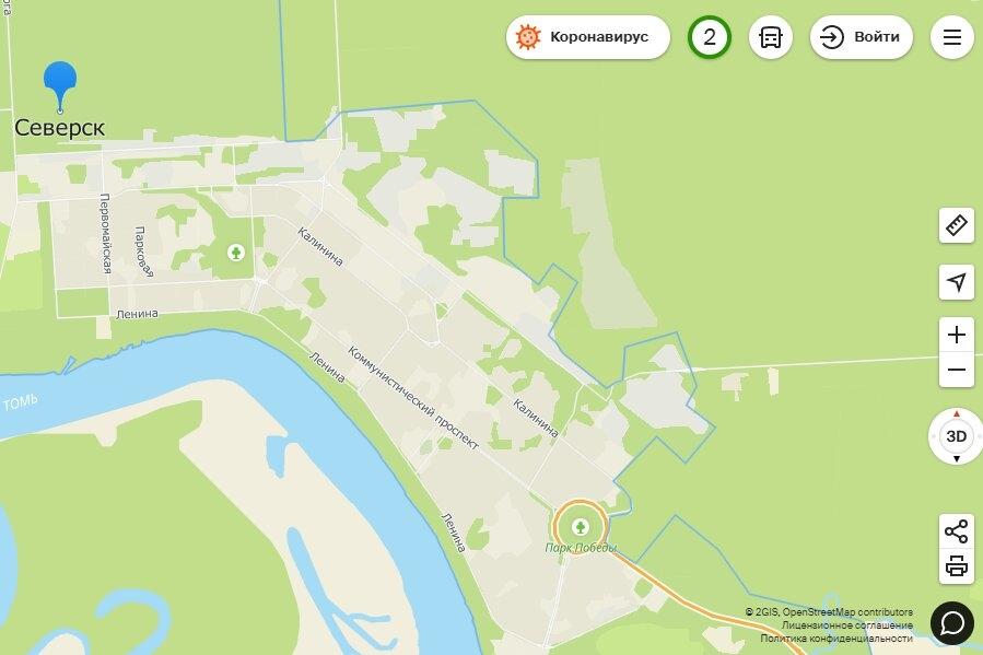 Северск стал доступен на картах 2ГИС