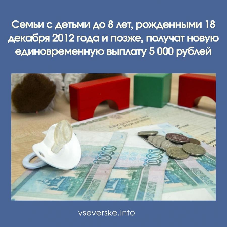 Семьи с детьми до 8 лет, рожденными 18 декабря 2012 года и позже, получат новую единовременную выплату 5 000 рублей