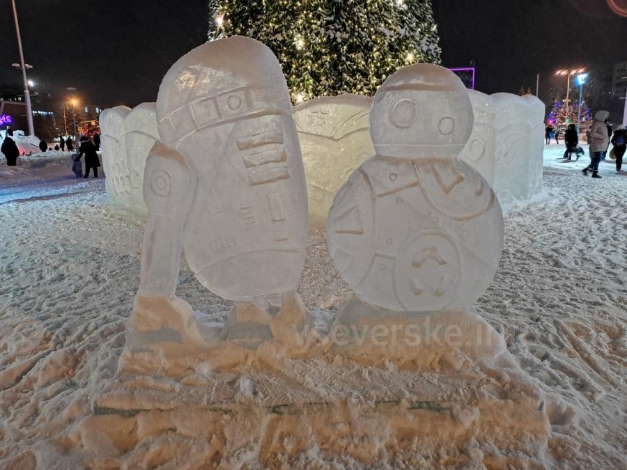 Ледовый городок в честь 60-летия полета Гагарина в космос