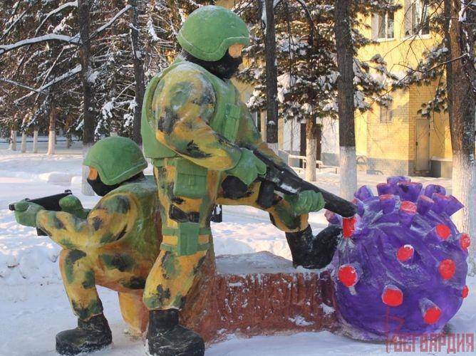Конкурс снежных скульптур состоялся в северском соединении Росгвардии