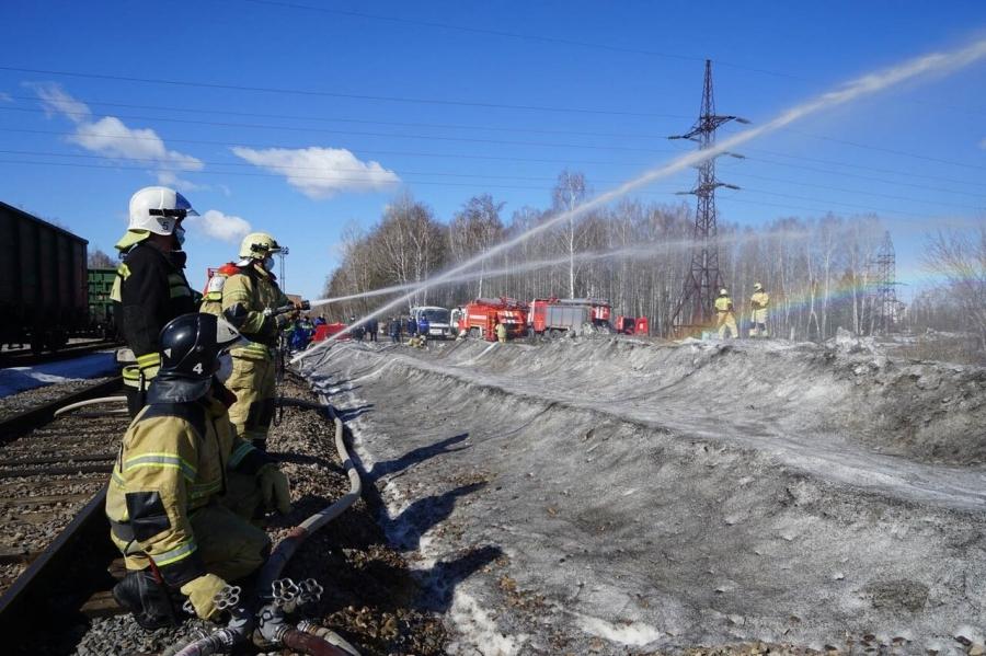 Плановая дивизионная тренировка по тушению природного пожара прошла на СХК